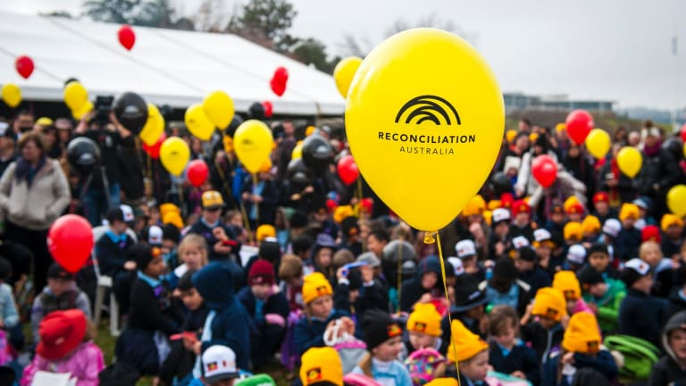 At least 1000 attended the Sorry Day bridge walk in Canberra during this year's Reconciliation Day.