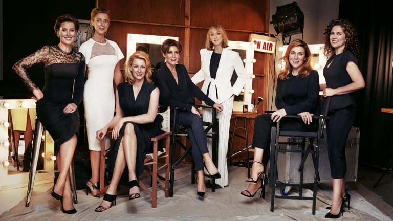 Magnificent seven: from left, Virginia Trioli, Kate Torney, Leigh Sales, Emma Alberici, Sally Neighbour, Jo Puccini and Annabel Crabb.