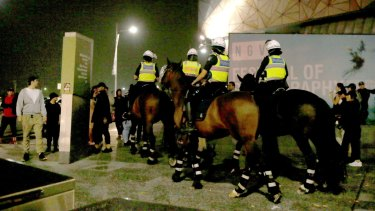 Mounted police bolstered the law and order at Federation Square.