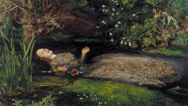 John Everett Millais' Ophelia, detail (1851-52).