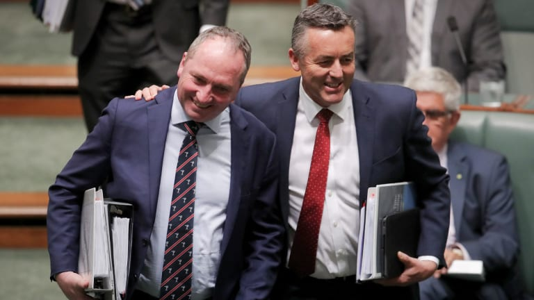 Happier times: Deputy Prime Minister Barnaby Joyce and then minister Darren Chester in October.