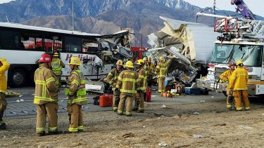 The scene of crash between a tour bus and a semi-truck near Palm Springs, in California.