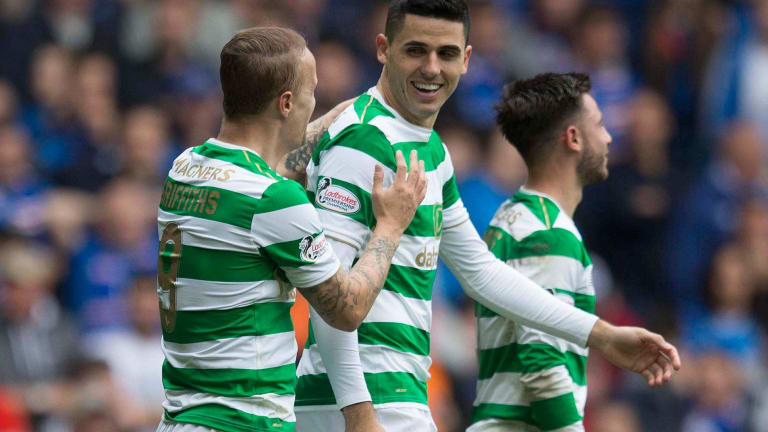 Reinforcements: Tom Rogic is back training with his Celtic teammates.