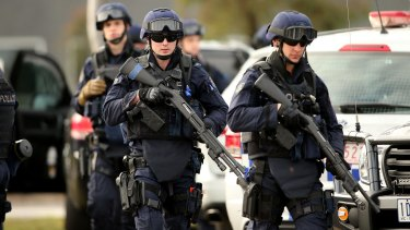 Victoria Police Special Operations Group members outside the Melbourne remand centre.