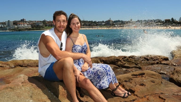 Love match: GWS player Shane Mumford with fiancee Eva Konta at Bondi.