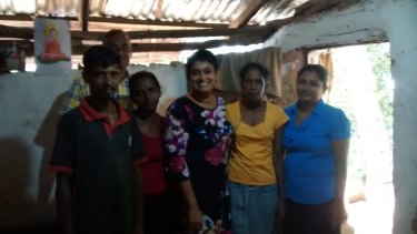 Dr Lokuge (right) with people she worked with in Sri Lanka: Mr Gamini (back, social worker), Mr Aponso (front left, local community member/organiser), Mrs Aponso, (local community member/organiser), Dr Thinini Rajapakse (psychiatrist) and  Mrs Laxmi (preschool teacher).