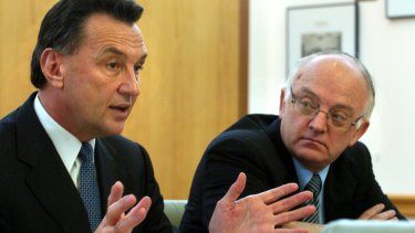 Federal MPs Craig Emerson and Bob McMullan in 2005. Emerson says he has no 'great remorse or regrets about never achieving the leadership' of the Labor party.