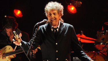 A rare smile from Bob Dylan during an appearance in Los Angeles in 2012.