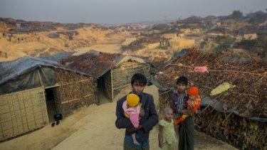 Refugees are seen in Kutapalong Rohingya refugee camp in Cox's Bazar, Bangladesh.