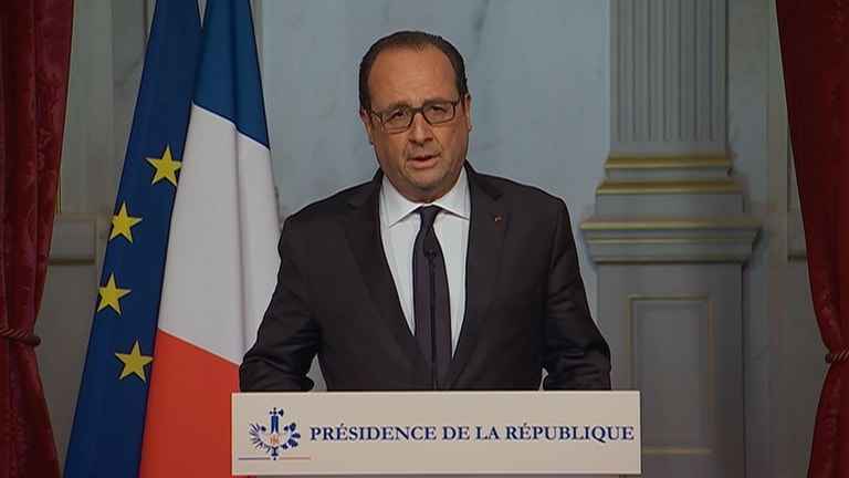 French television pool shows French President Francois Hollande making an emergency broadcast on Friday evening.