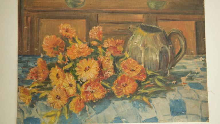 The painting by renowned Australian artist Margaret Olley was discovered at a car boot sale for $20.