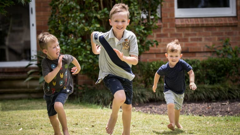 Eight-year-old Charley Hetherington (centre) has a peanut allergy.