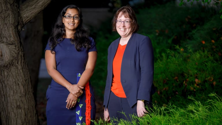 Canberra Community Law solicitors Anusha Goonetilleke and Genevieve Bolton have welcomed the federal government's backflip on legal funding for the chronically underfunded community legal aid sector. Photo: Sitthixay Ditthavong