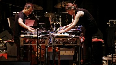 Nicole Lizee and Martin Ng perform on the turntables in four turntables in Sex, Lynch and Video Games.