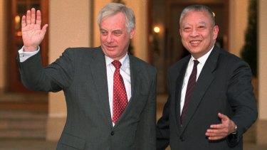 Handover: Former Hong Kong governor Chris Patten and his successor under Chinese rule, Tung Chee-hwa, in 1996.