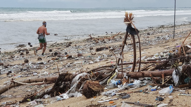 """From December 5 to 10, the local government declared a """"trash emergency"""" on Kuta and Legian beaches."""