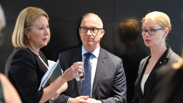Elizabeth Broderick, University of Sydney Vice Chancellor Michael Spence and the head of the Women's College, Amanda Bell.