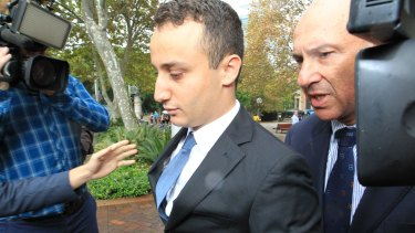 Luke Lazarus leaves court after his appeal judgment last year.