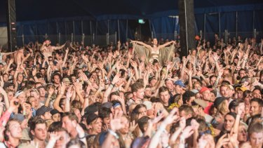 Crowds at Falls Festival at Lorne on Saturday, the day after the crush.
