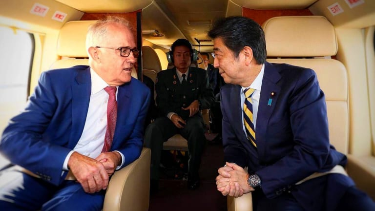Prime Minister Malcolm Turnbull speaks with the Prime Minister of Japan, Shinzo Abe.