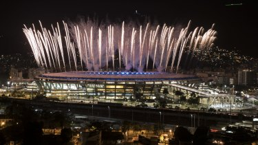 Fireworks explode above the Maracana during a rehearsal for the 2016 Opening Ceremony.