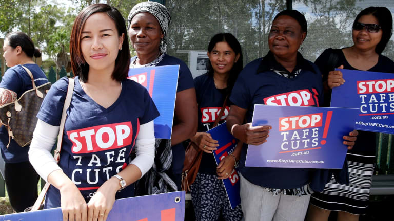 Students protest against TAFE cuts.