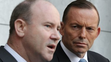 Greg Moriarty, Commonwealth Counter-Terrorism Co-ordinator and Prime Minister Tony Abbott during a press conference.