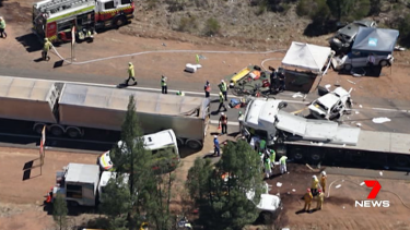 Two people were killed and 10 were injured in the multi-vehicle crash.