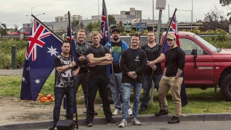 Members of the United Patriots Front, including Neil Erikson (middle), will take their anti-Islam fight to Bendigo on Saturday.