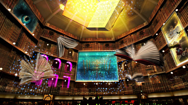 The ever-so-slightly Harry Potter-ish Secret Life of Books at the State Library reading room.