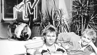 Richard Wilkins, his hair, and Joy Smithers on the set of Channel Nine's MTV in the 1980s.