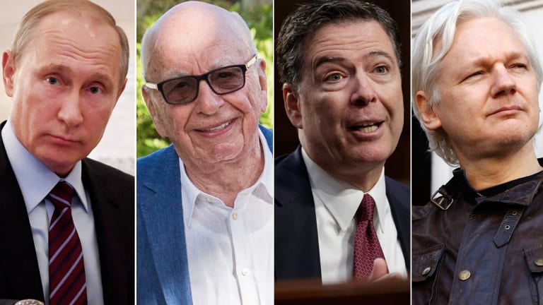The men Hillary Clinton believes colluded against her: Vladimir Putin, Rupert Murdoch, former FBI chief James Comey and Julian Assange.