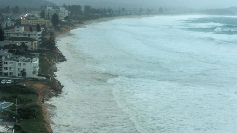 Image taken on Sunday morning shows widespread erosion at Narrabeen.