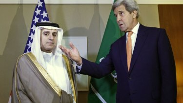 Complicated relationship: US Secretary of State John Kerry with Saudi Foreign Minister Adel al-Jubeir.