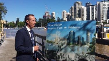 Labor's Rod Harding at Kangaroo Point's Thornton St ferry terminal on Monday.