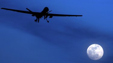 An American drone flies over Kandahar in Southern Afghanistan.