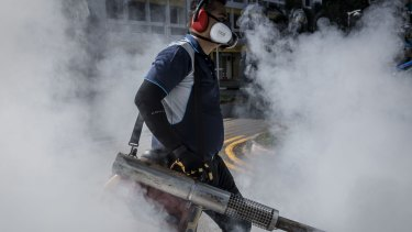 A pest control worker fumigates the grounds of an apartment block in Singapore.