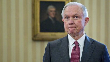 Jeff Sessions, US attorney-general, pauses after being sworn in by Vice President Mike Pence in the Oval Office on February 9.