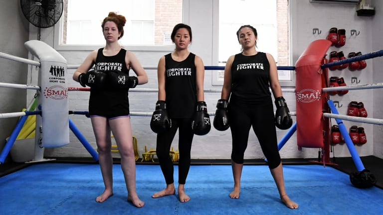 Without their headgear: (from left) Sophie Mathison, Grace Tan and Mohini Herse.