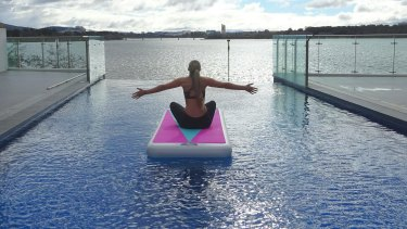 Salti floats are an inflatable board which can be used for yoga and other fitness training on water.