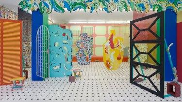 The installations of Venezuelan-born Sol Caleros evoke stage sets.