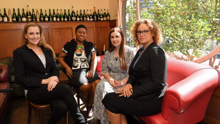 Victorian Premier's Literary Awards winners (left to right) Madeline Gleeson, Maxine Beneba Clarke Randa Abdel-Fattah, and Leah Purcell.