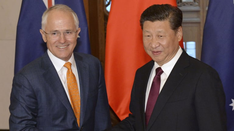 Australian Prime Minister Malcolm Turnbull and Chinese President Xi Jinping in Beijing.