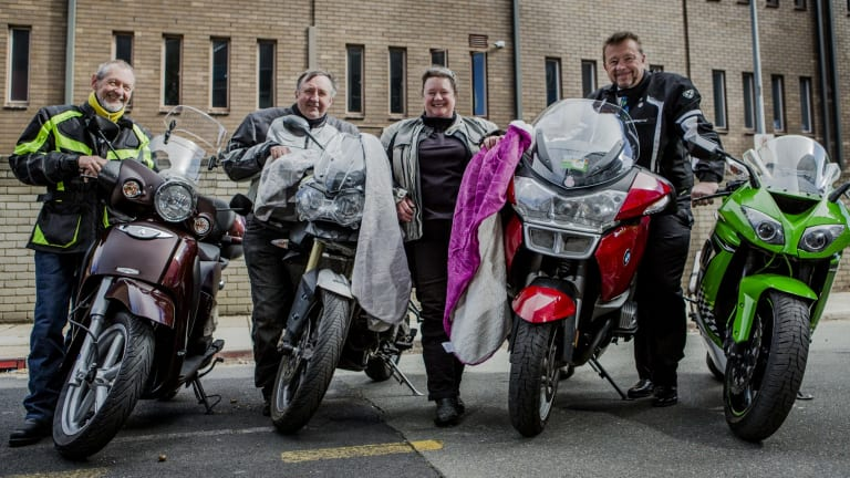Jayson Hinder, right, who was among motorcyclists who rode to Old Parliament House last May for a charity blanket run to donate blankets and old motorcycle jackets to the homeless.