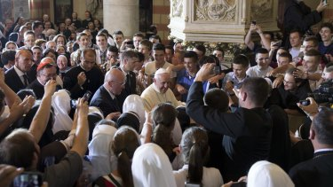 Pope Francis at the Sacred Heart Cathedral in Sarajevo on Saturday.