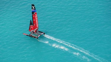 Photo provided by America's Cup Events Authority shows the Kiwis during an America's race against the USA in Hamilton, Bermuda.