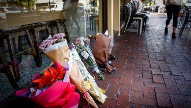 Flowers outside Gelobar in Brunswick East after its owner, Joseph Aquaro, was  gunned down.