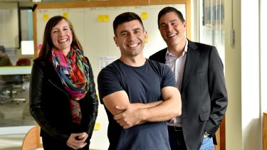 Westpac and NAB venture capital funds have invested in Basiq, a start-up that has created computer software to connect banks and fintechs. Pictured are Westpac's Kara Frederick, Basiq founder Damir Cuca and NAB's Todd Forest.