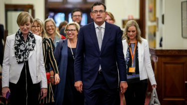 Fiona Richardson, Rosie Batty and Daniel Andrews at the release of the findings of the royal commission into family violence.