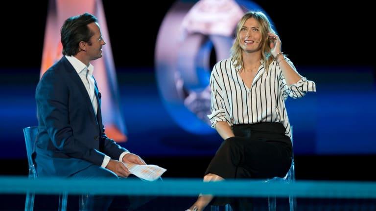 Maria Sharapova is interviewed by Hamish McLachlan.
